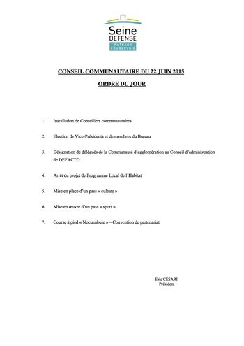 Ordre du jour du conseil communautaire du 22 juin 2015