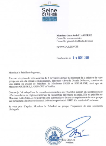 Courrier de Monsieur CESARI du 14 novembre 2014
