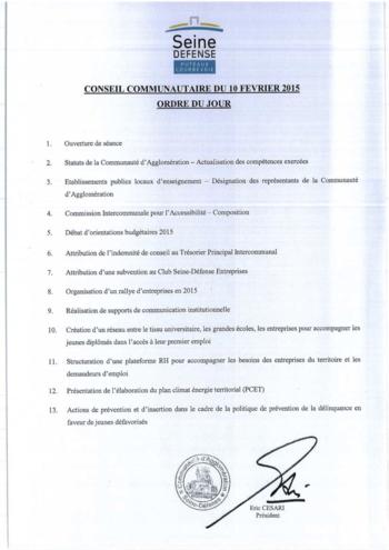 CC 10 février 2015 - Ordre du jour