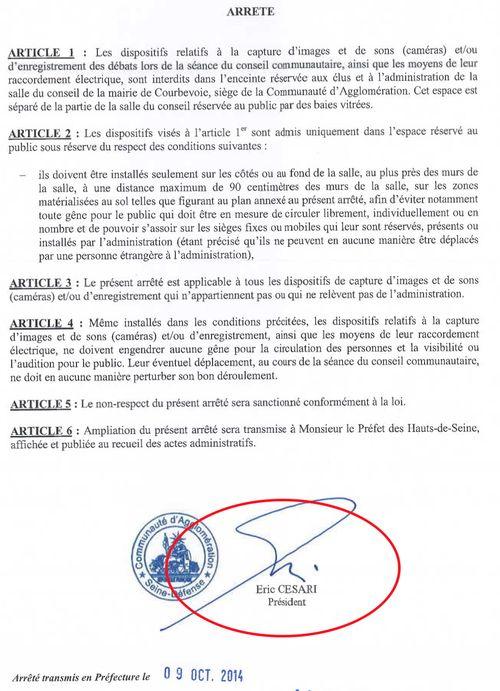 Arrêté n°44 du 7 octobre 2014